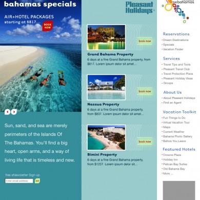 Pleasant Holidays Landing Page