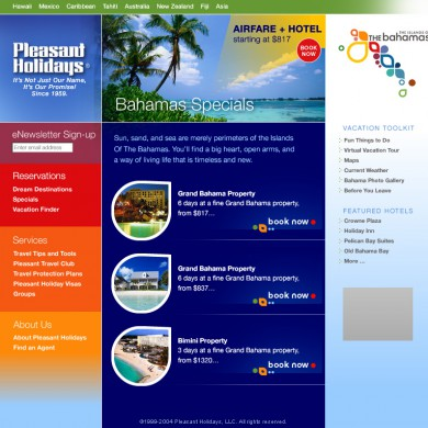 Pleasant Holidays Landing Page for Bahamas Promo